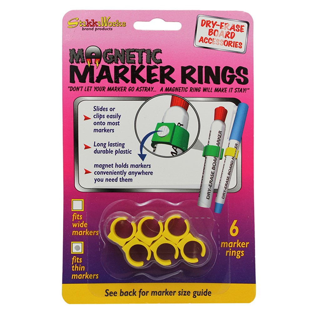 STK33061 - Magnetic Marker Rings 6Pk Fits Thin Barrel Markers in Whiteboard Accessories