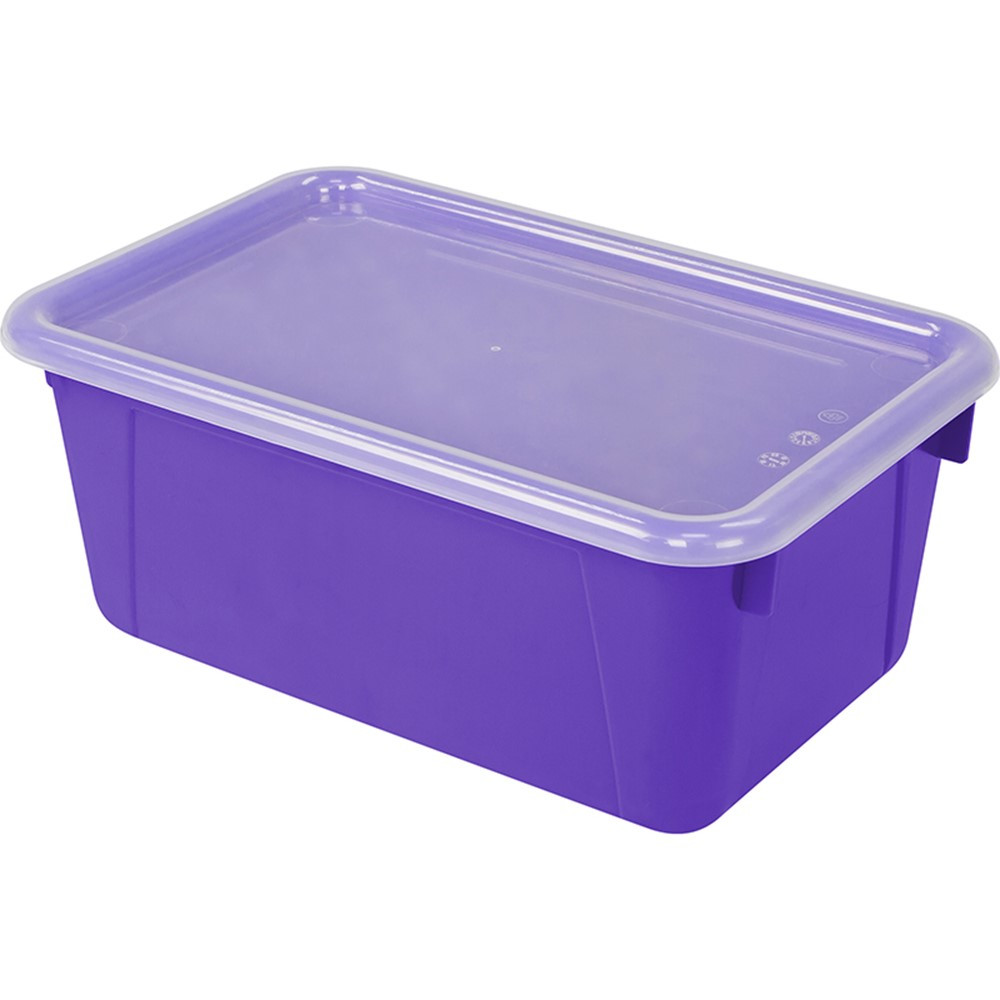 Small Cubby Bin With Cover Purple Classroom   STX62411U06C | Storex  Industries | Supplies