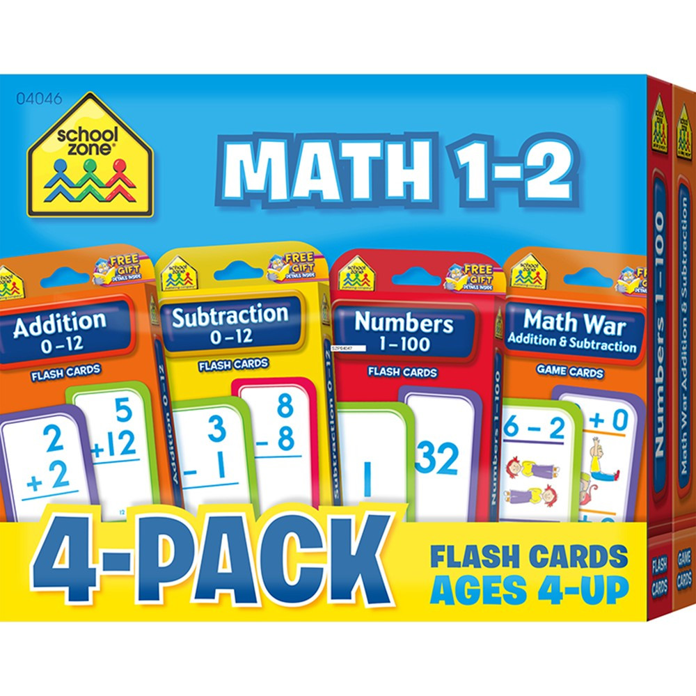Math 1-2 Flash Cards 4 Pk - SZP04046 | School Zone Publishing | Math ...