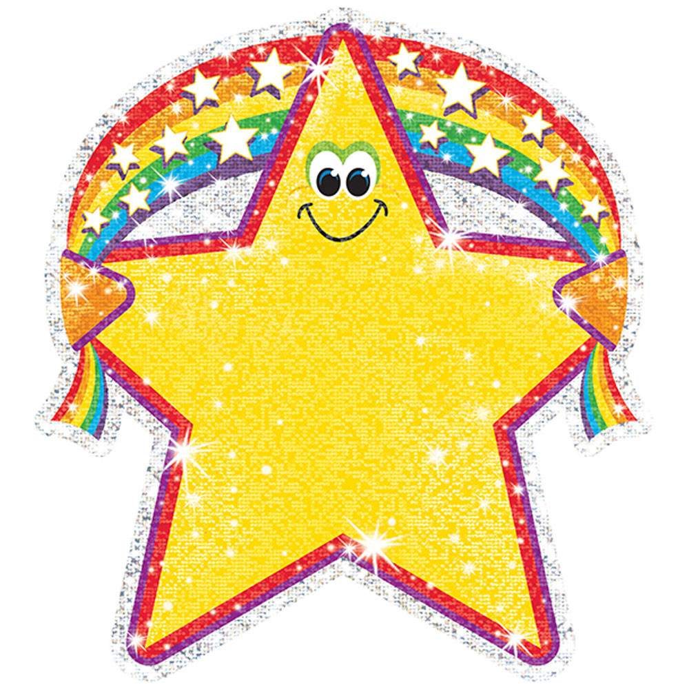 T-10107 - Sparkle Accents Rainbow Star 24/Pk 5 X 5 in Accents