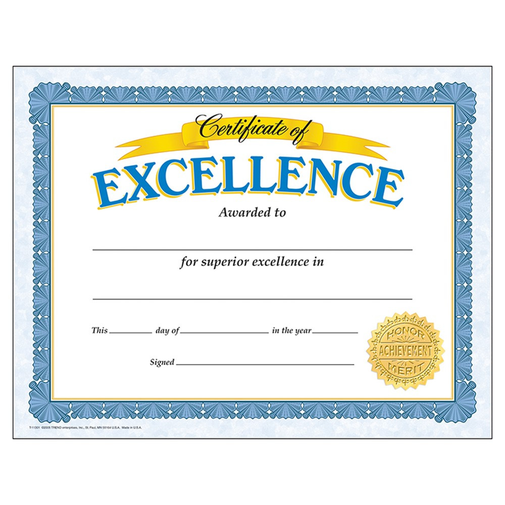 T-11301 - Certificate Of Excellence 30/Pk in Certificates