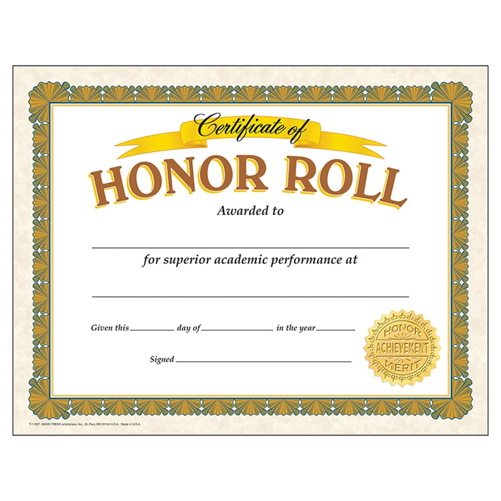 T-11307 - Certificate Of Honor Roll 30/Pk in Certificates