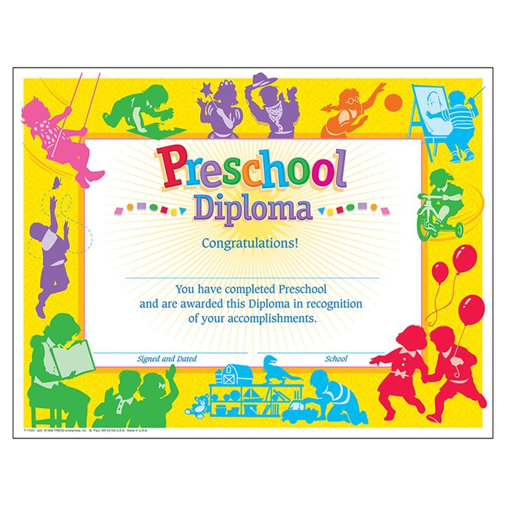 T-17001 - Classic Diploma Preschool 30/Pk 8-1/2 X 11 in Certificates