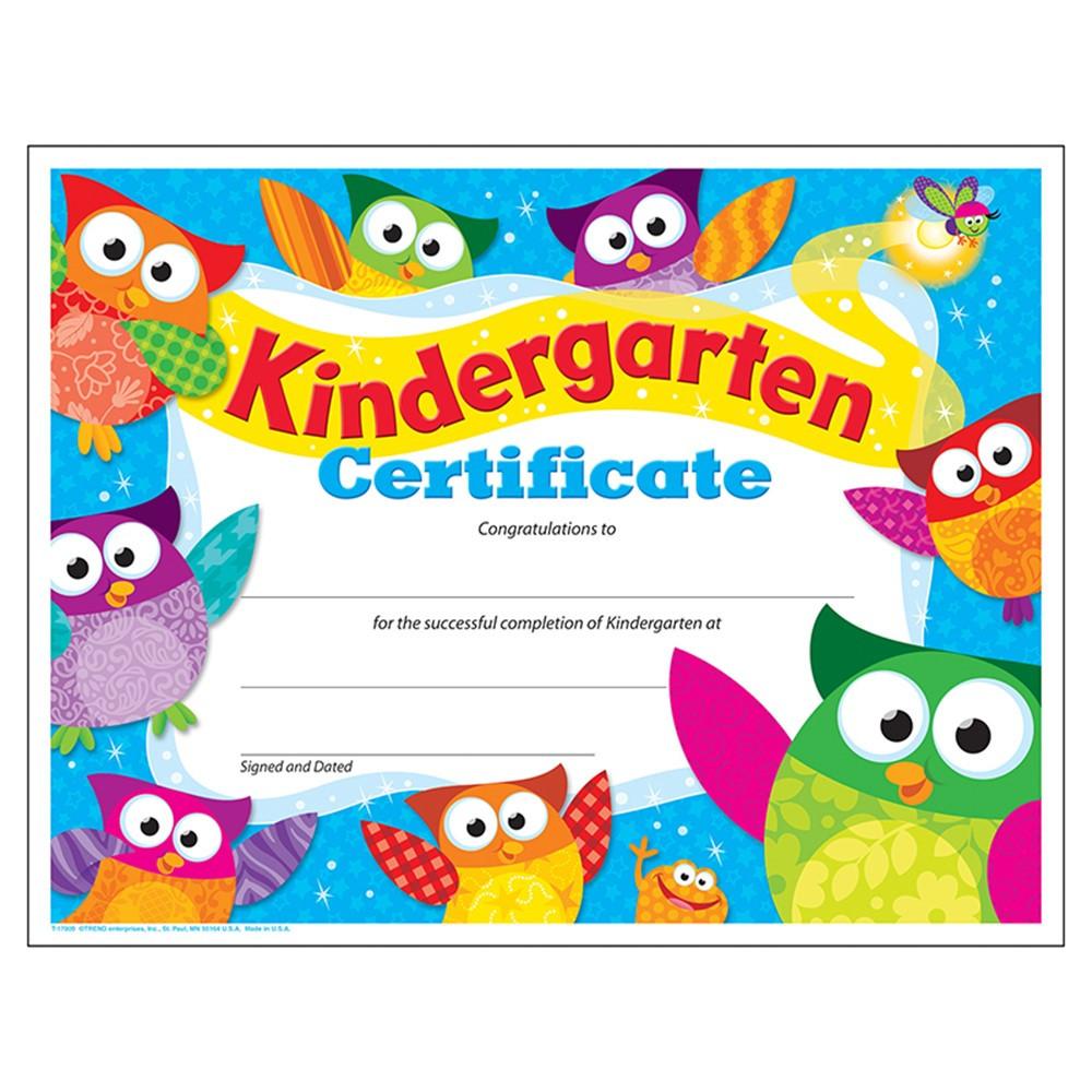 Kindergarten Certificate Owl Stars Pk K Certificates Diplomas