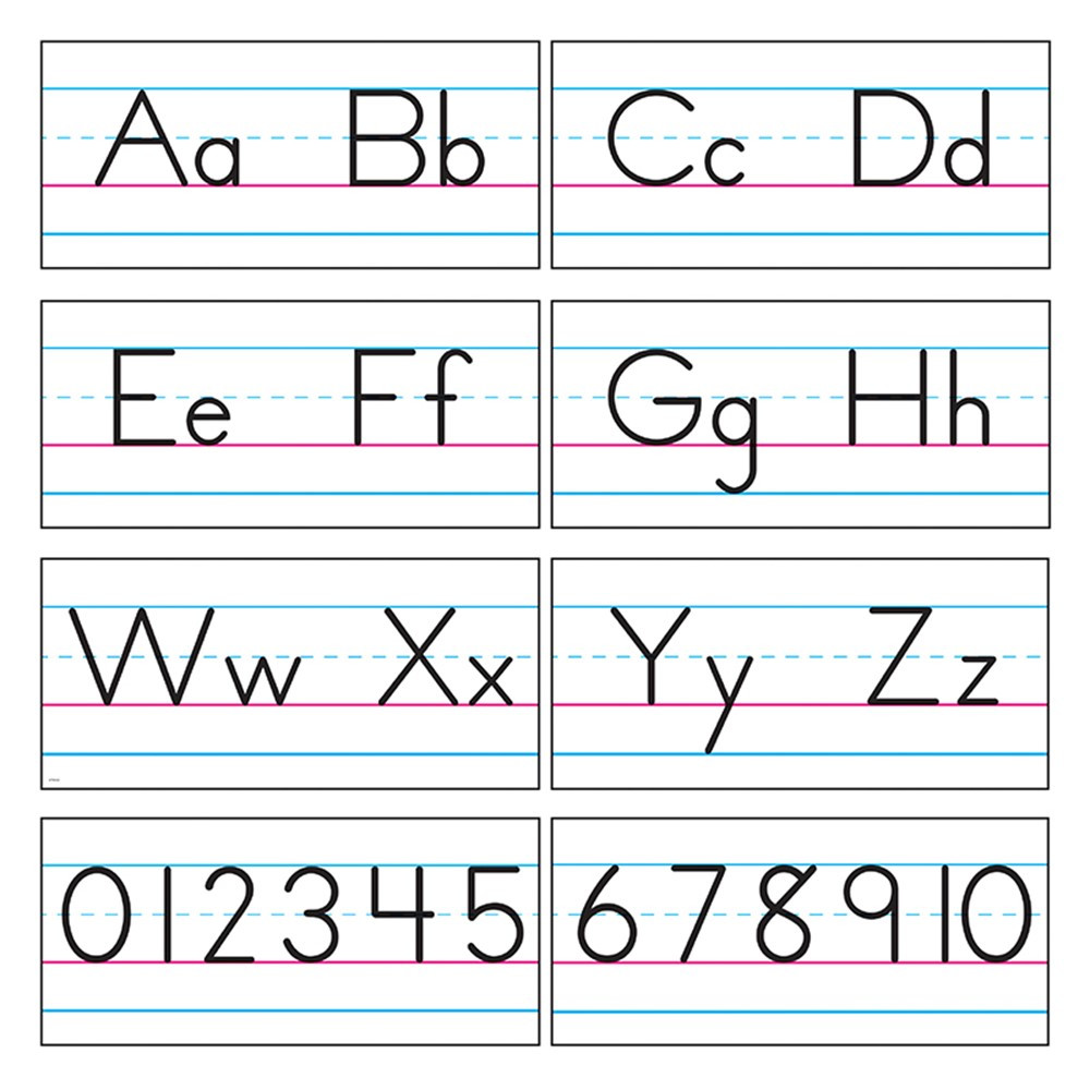 T-1858 - Bb Set Manuscript Zaner-Bloser 18 in Alphabet Lines
