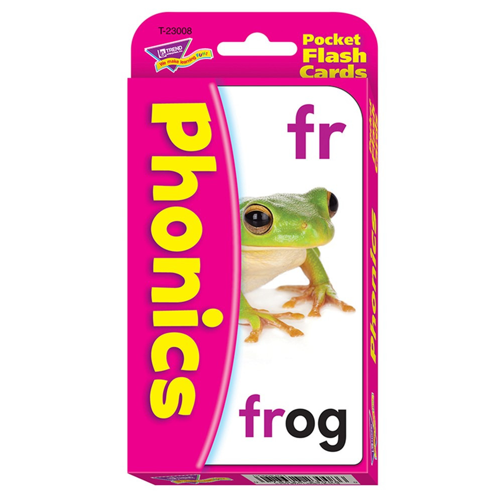 T-23008 - Pocket Flash Cards Phonics 56-Pk 3 X 5 Two-Sided Cards in Phonics