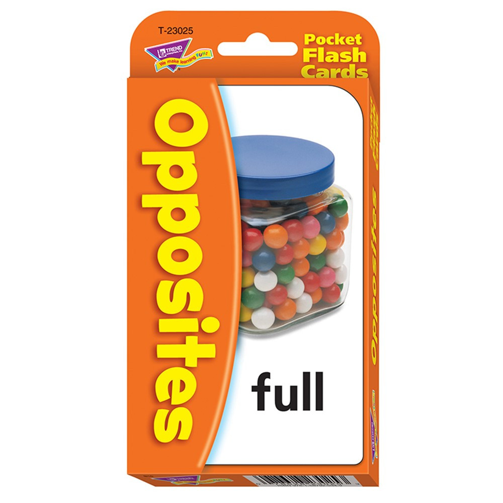 T-23025 - Pocket Flash Cards Opposites 56-Pk 3 X 5 Two-Sided Cards in Phonics