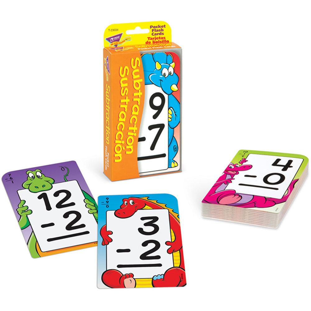 T-23034 - Pocket Flash Cards Subtraction Sustraccion in Flash Cards