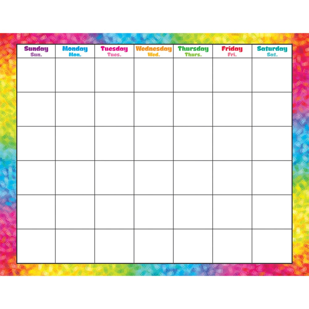 T-27011 - Colorful Brush Strokes Monthly Wipe Off Calendar in Calendars