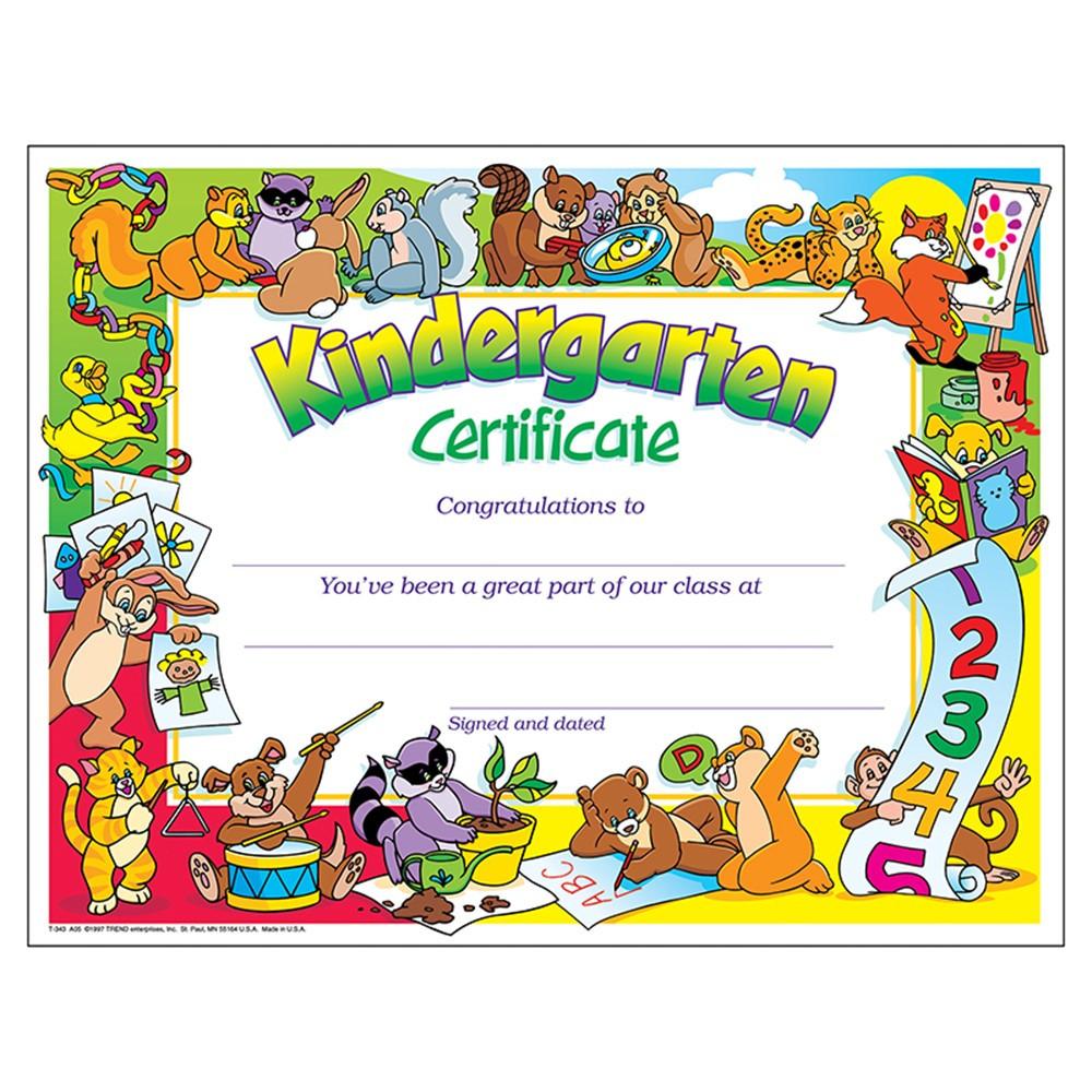 T-343 - Certificate Kindergarten 30/Pk 8-1/2 X 11 in Certificates