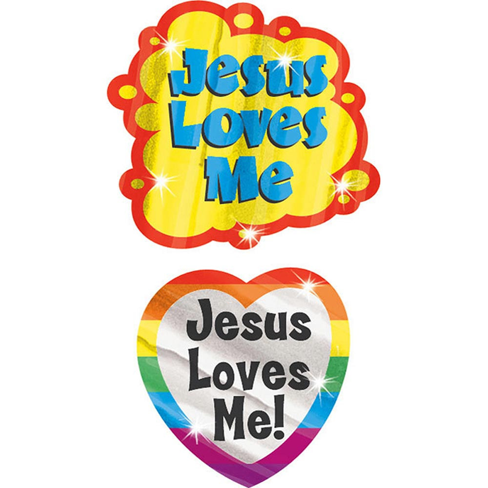 T-37702 - Jesus Loves Me Foil Bright Stickers in Inspirational