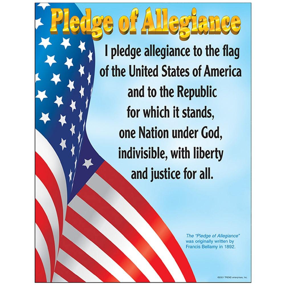 T-38004 - Chart Pledge Of Allegiance Gr K-3 17 X 22 in Social Studies