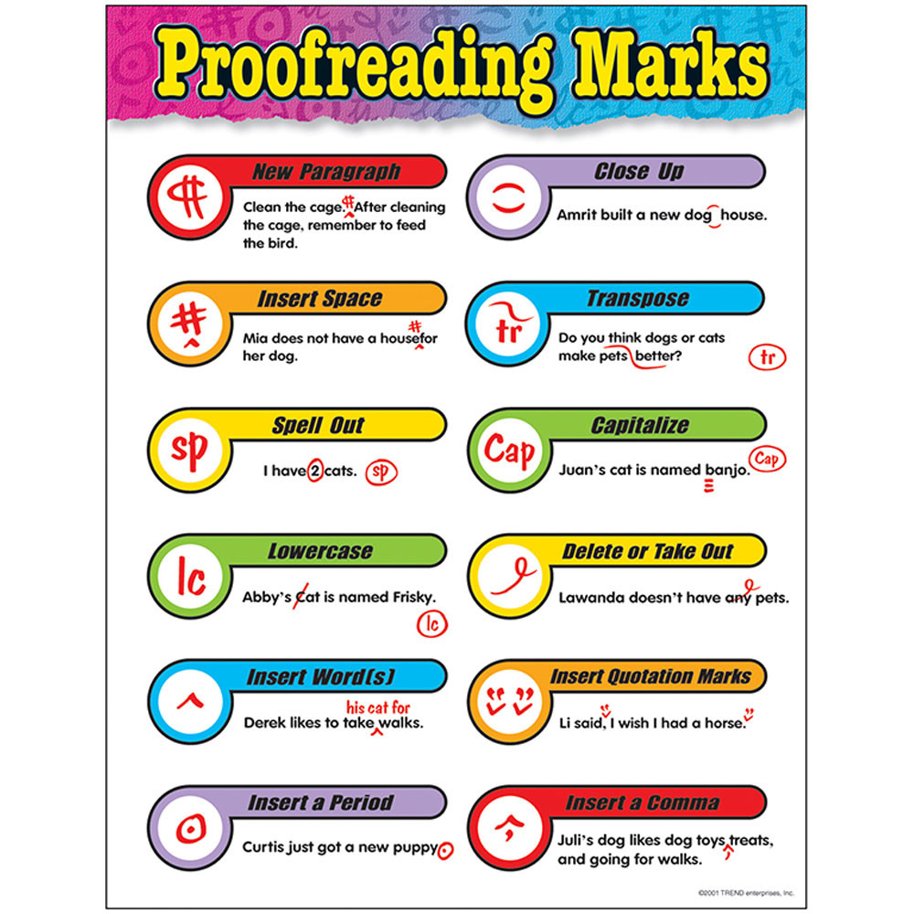 T-38042 - Chart Proofreading Marks Gr 3-6 17 X 22 in Language Arts