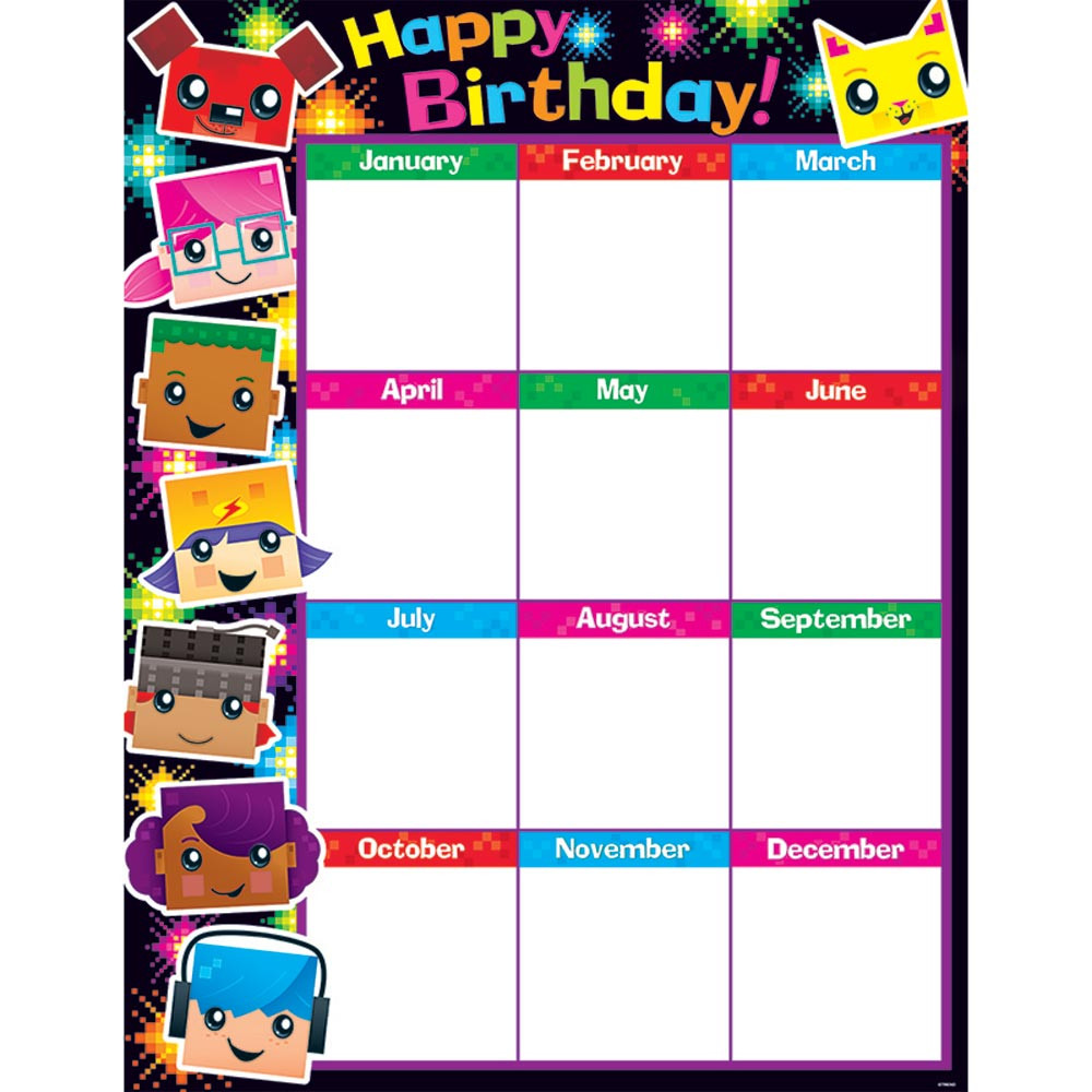 T-38371 - Birthday Blockstars Learning Chart in Classroom Theme