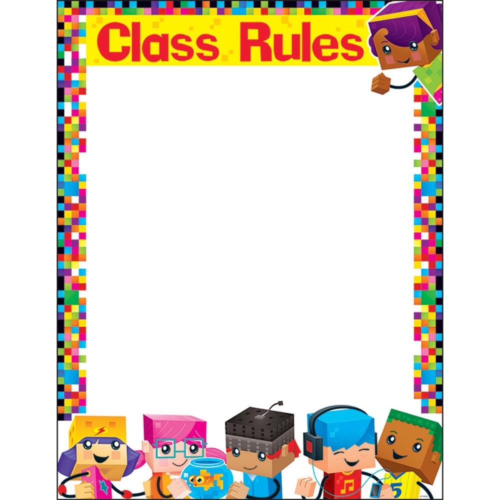 T-38373 - Class Rules Blockstars Learning Chart in Classroom Theme