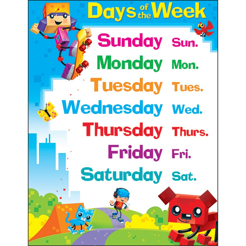 T-38375 - Days Of The Week Blockstars Learning Chart in Classroom Theme