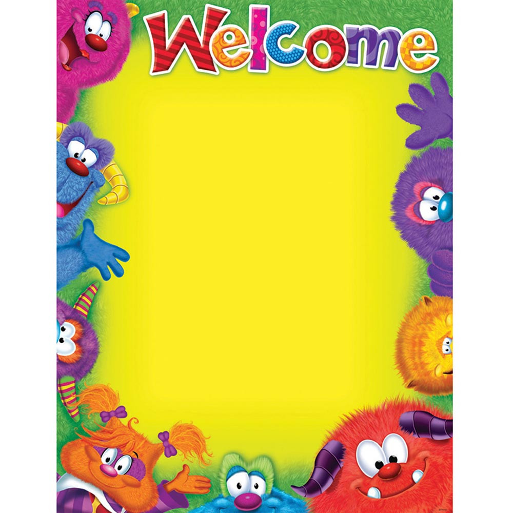 T-38431 - Welcome Blank Furry Friends Chart in Classroom Theme