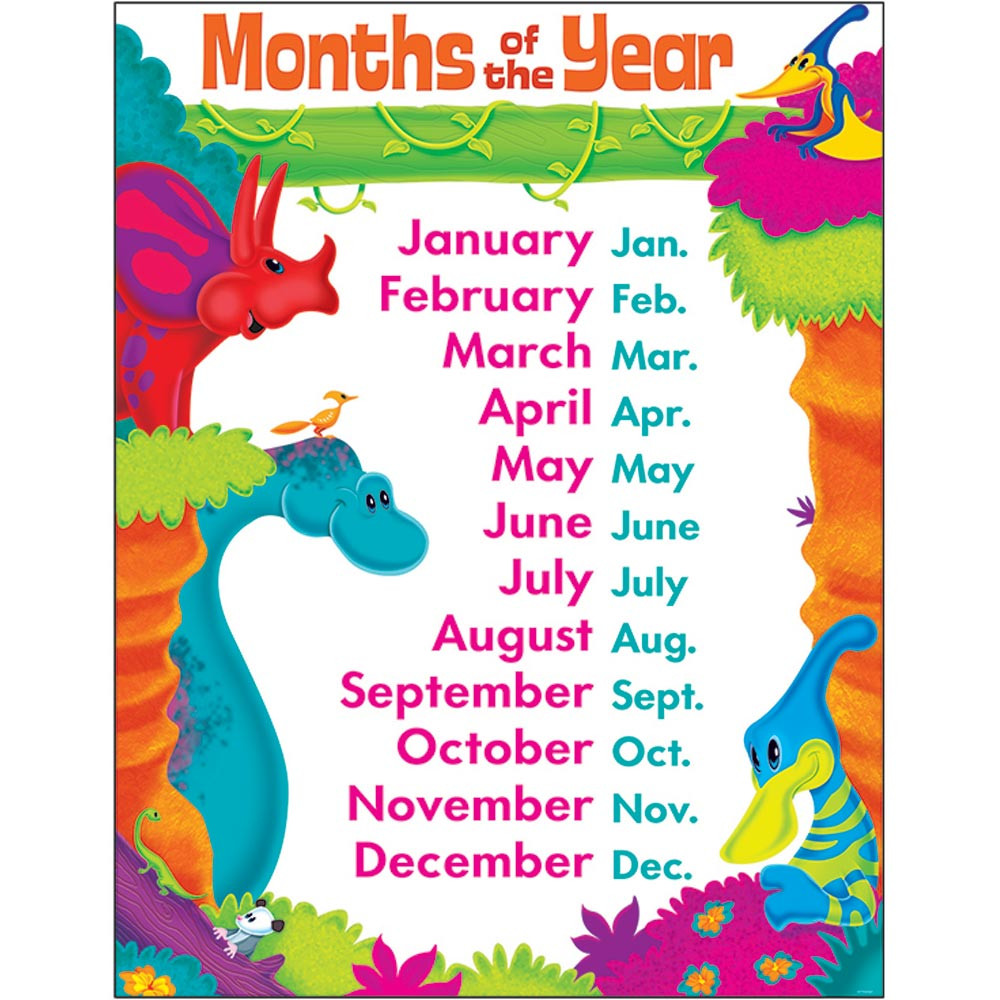 Months Of Year Dino-mite Pals  Learning Chart