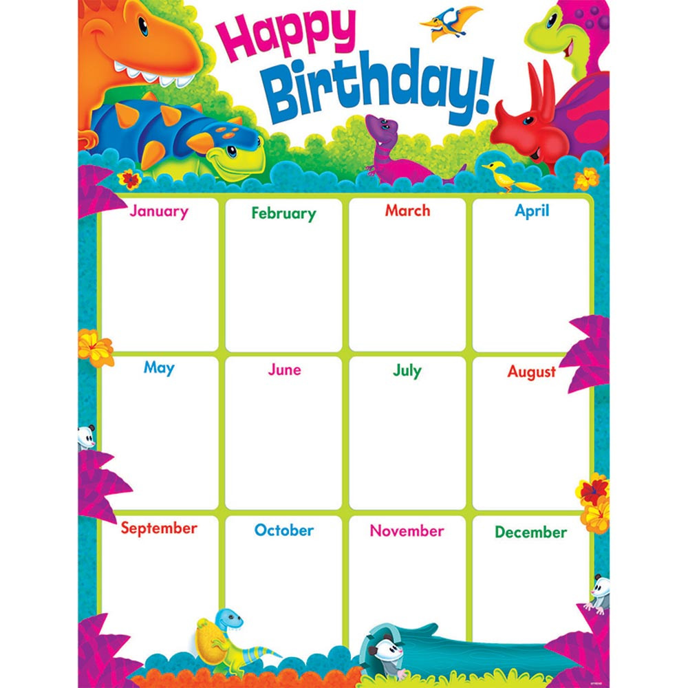 Birthday Graph Poster: Birthday Dino-Mite Pals? Learning Chart - T-38484