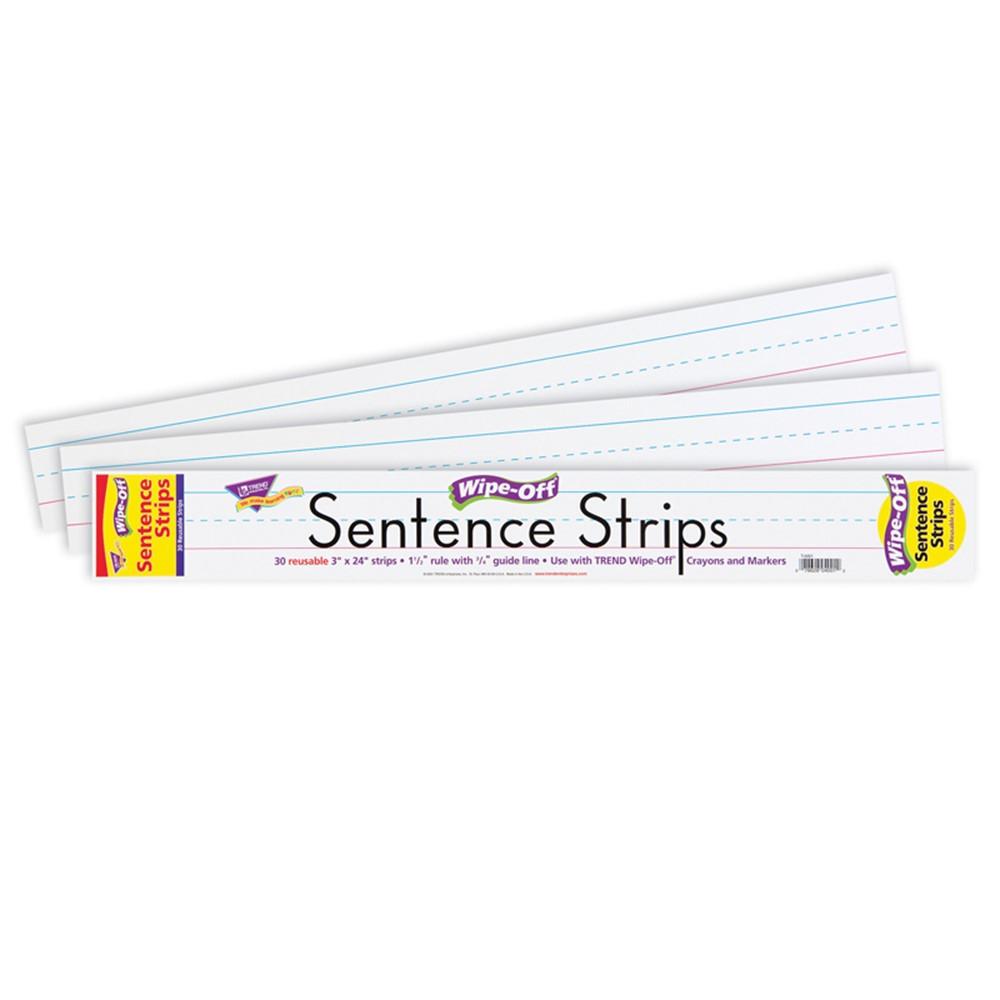 T-4001 - Wipe-Off Sentence Strips 30/Pk 24 X 3 in Dry Erase Sheets