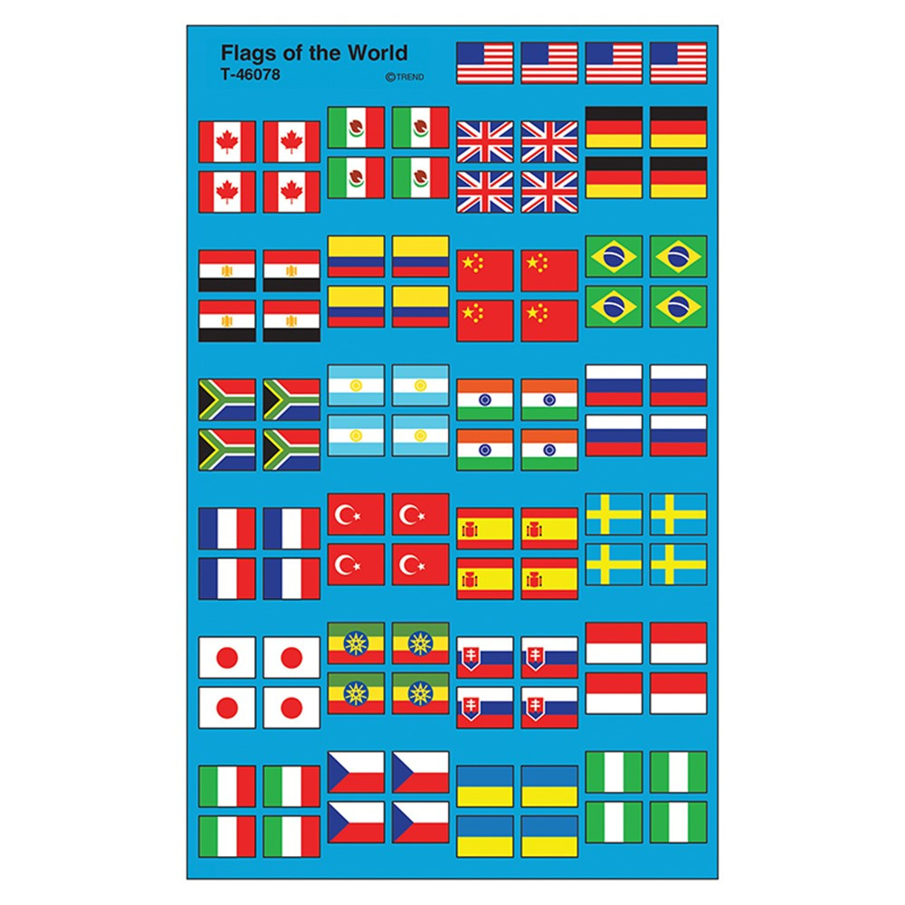 T-46078 - Flags Of The World Supershape Superspots/Shapes Stickers in Social Studies