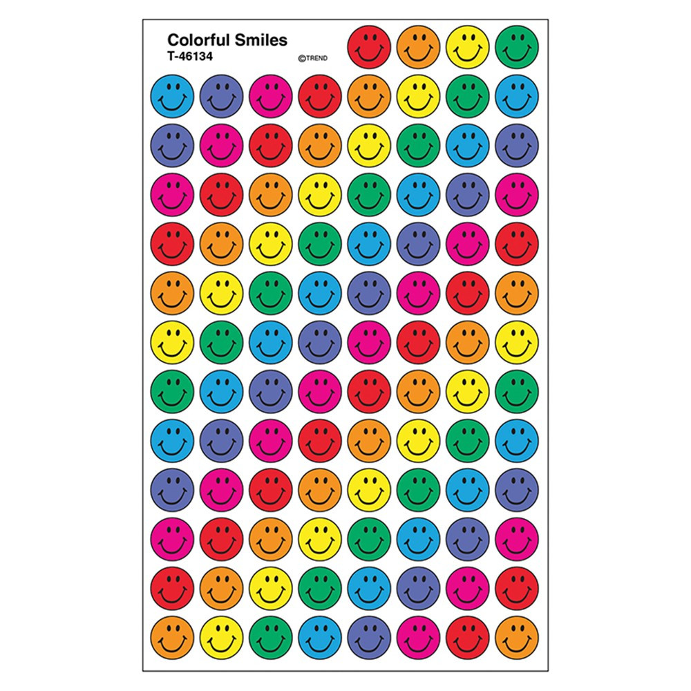 T-46134 - Superspots Stickers Colorful 800/Pk Smiles Acid-Free in Stickers