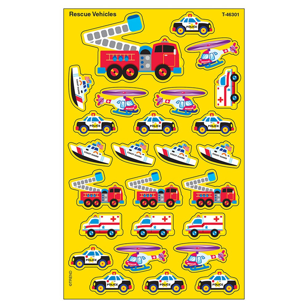T-46301 - Supershapes Rescue 184-208/Pk Vehicles Larger Size in Stickers