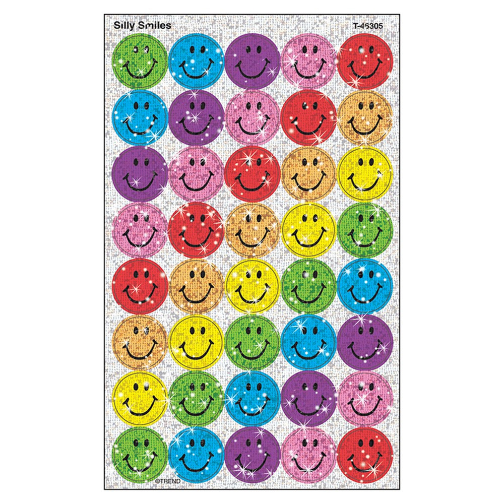 T-46305 - Superspots Sparkle Silly 60-180/Pk Smiles1 Larger Size in Stickers
