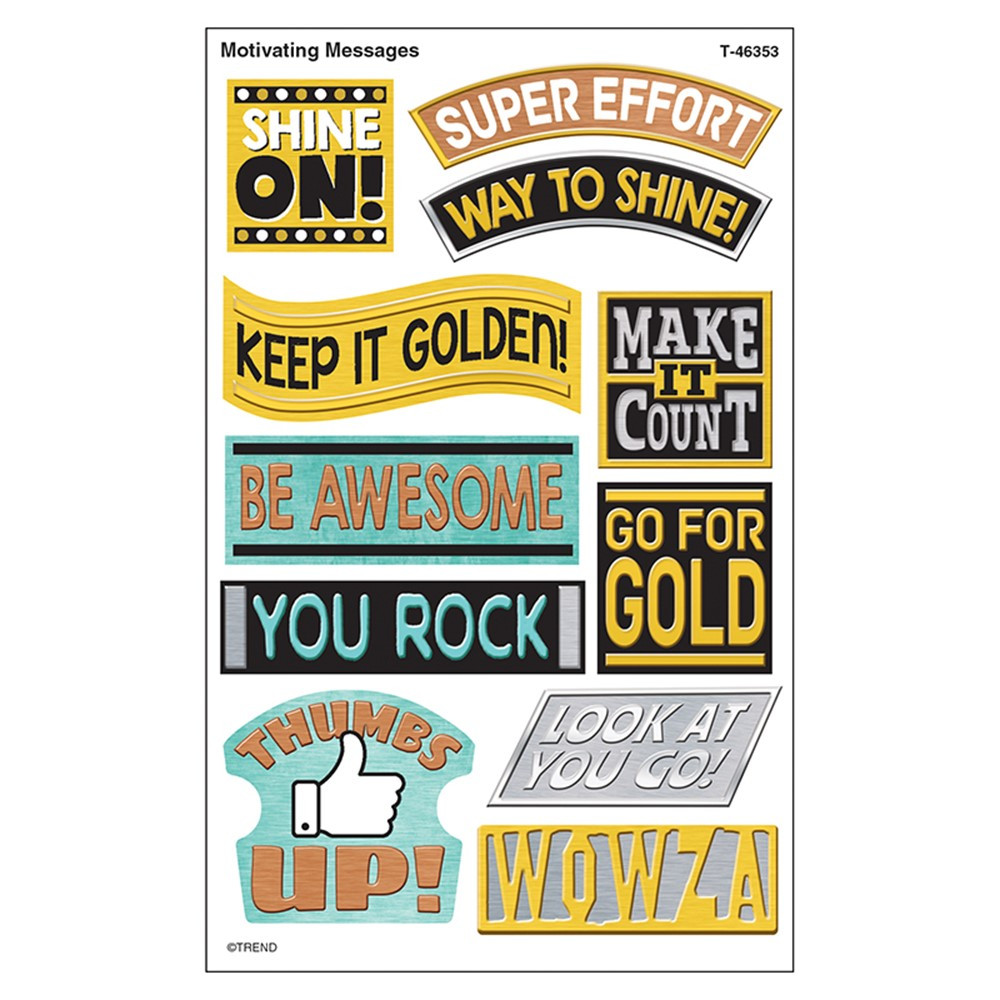 T-46353 - Motivating Messgs Sprshps Stickers Large I Heart Metal in Stickers