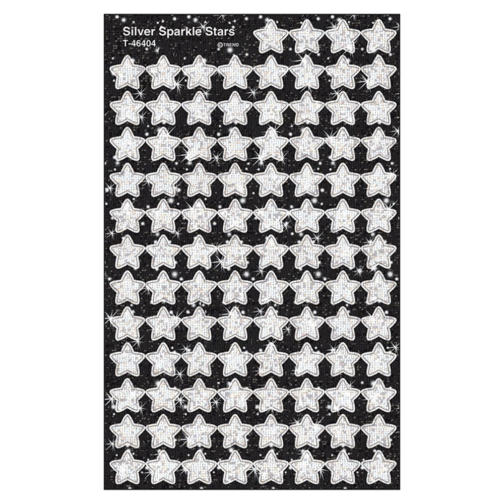 T-46404 - Supershapes Silver Sparkle 400/Pk Stars in Stickers