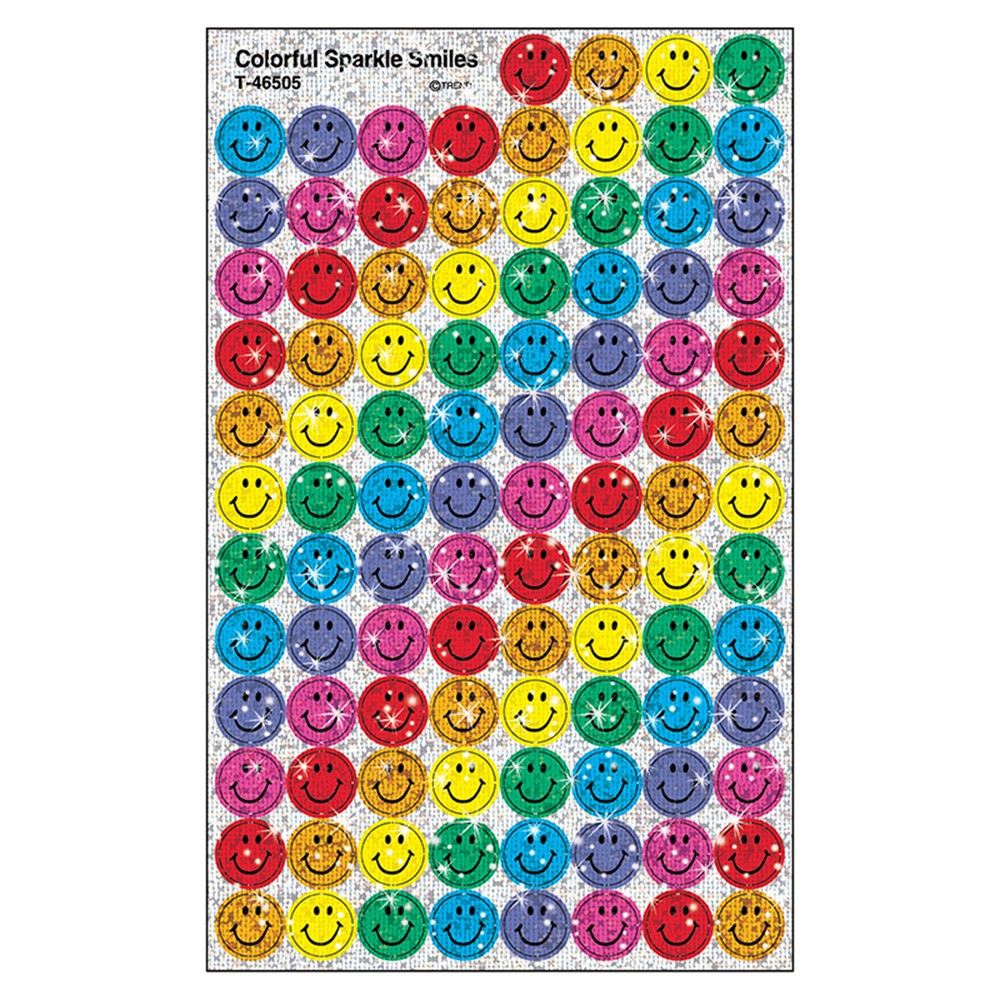 T-46505 - Superspots Colorful Sparkle 400/Pk Smiles in Stickers