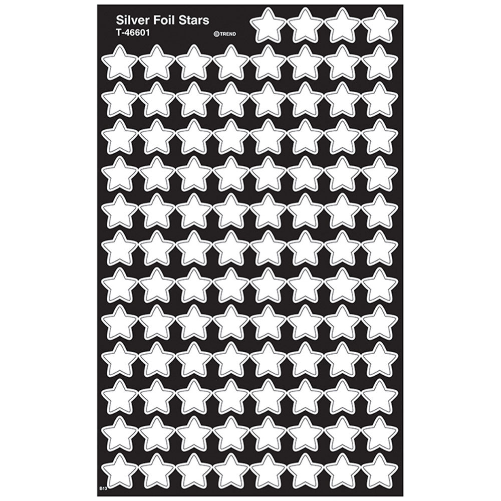 T-46601 - Supershapes Silver Foil Stars in Stickers