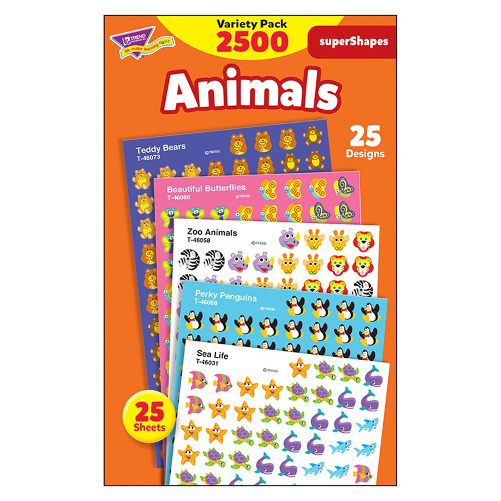 T-46904 - Supershapes Variety Animals 2200Pk in Stickers