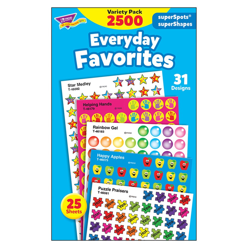 T-46916 - Everyday Favorites Variety Pk Superspots/Shapes Stickers in Stickers