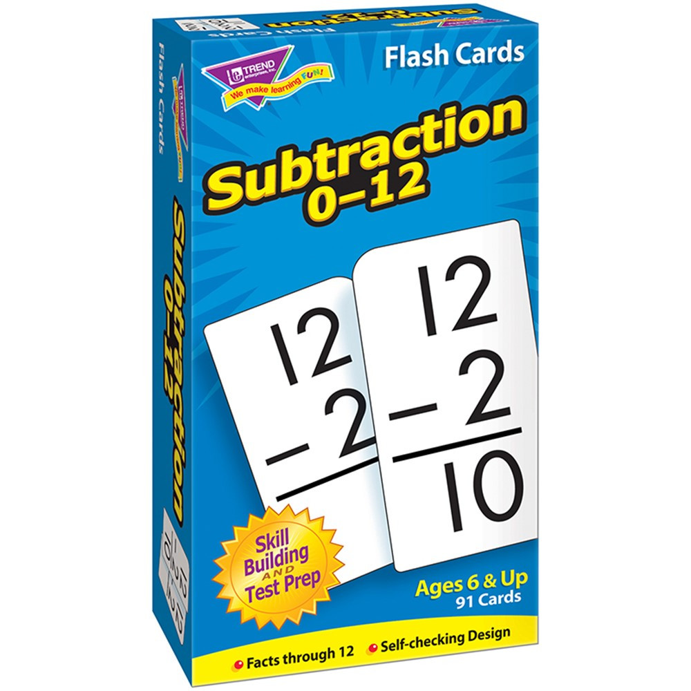 T-53103 - Flash Cards Subtraction 0-12 91/Box in Flash Cards