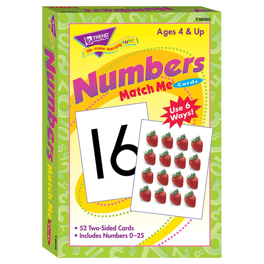 T-58002 - Match Me Cards Numbers 0-25 52/Box Two-Sided Cards Ages 4 & Up in Card Games
