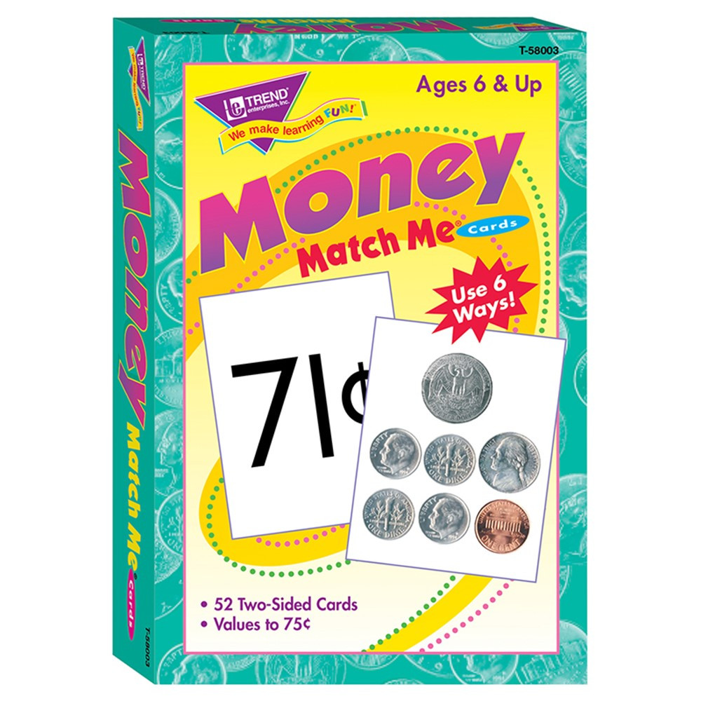 T-58003 - Match Me Cards Money 52/Box Two Sided Cards Ages 6 & Up in Card Games