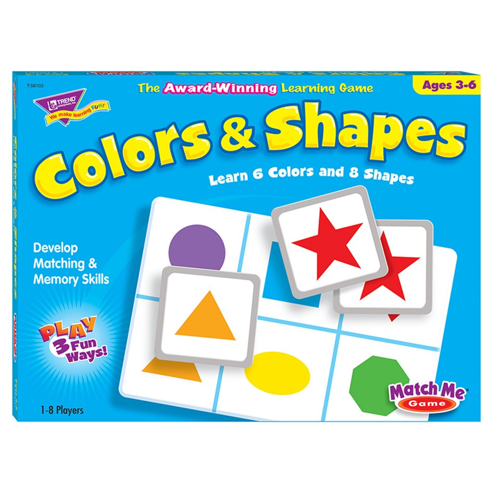T-58103 - Match Me Game Colors & Shapes Ages 3 & Up 1-8 Players in Games