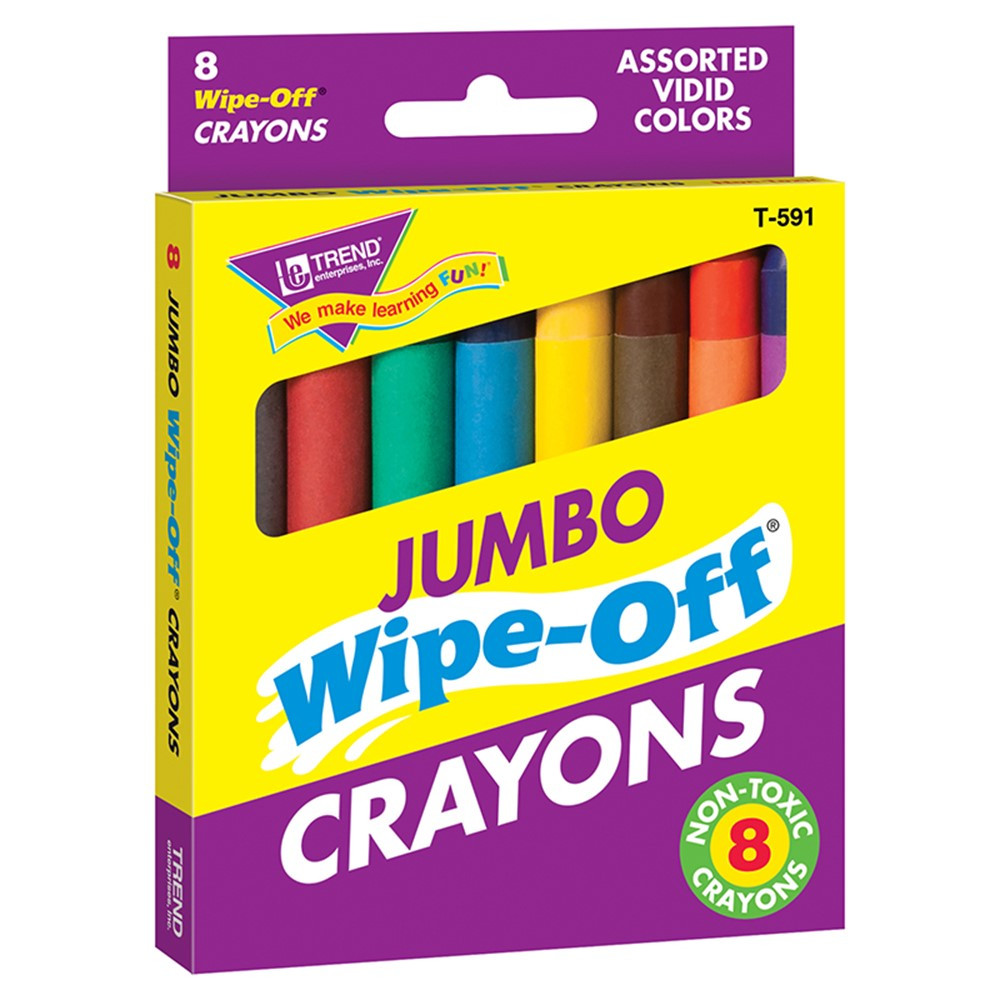 T-591 - Wipe-Off Crayons Jumbo 8/Pk in Crayons