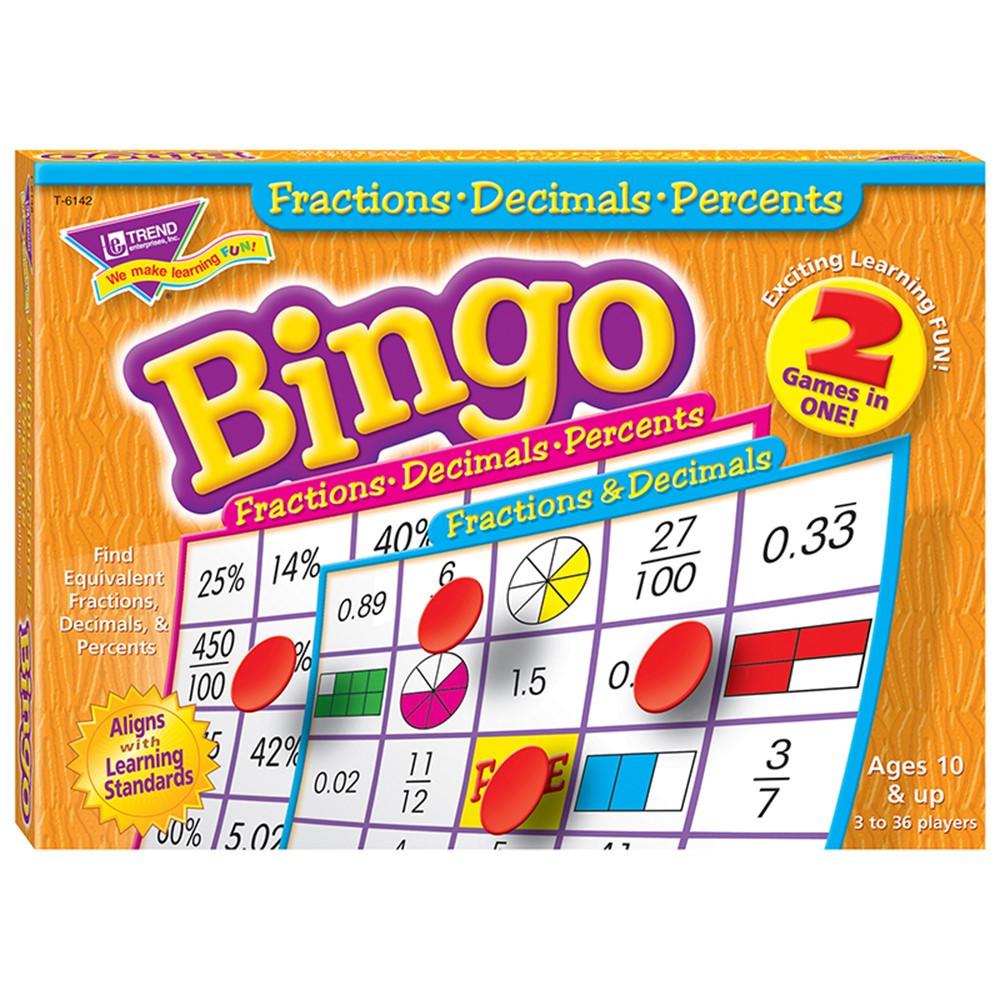 T-6142 - Fractions Decimals & Percents Bingo Game in Bingo