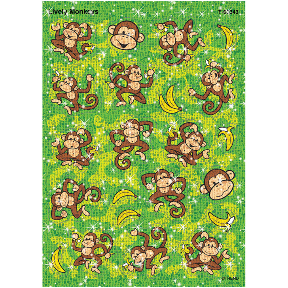 T-63343 - Sparkle Stickers Lively Monkeys in Stickers