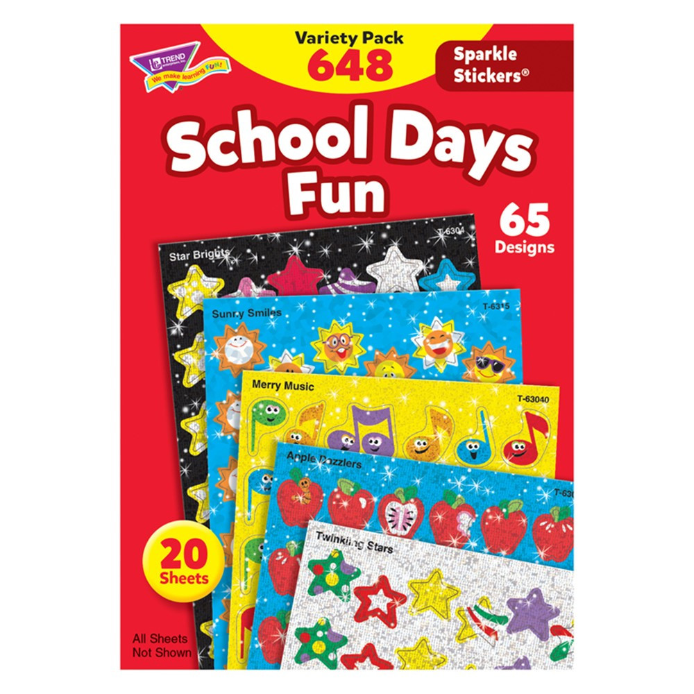T-63909 - Sparkle Stickers Variety Pack School Days in Stickers