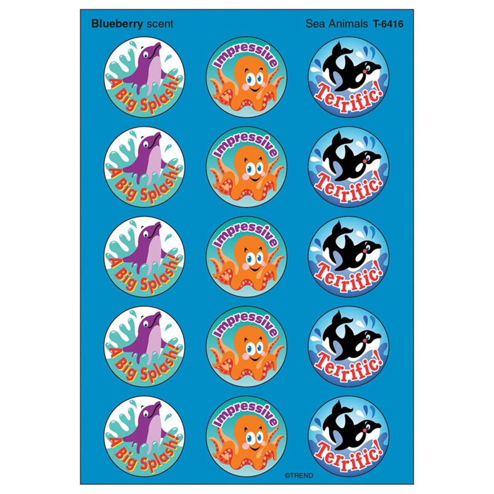 T-6416 - Stinky Stickers Sea Animals 60/Pk Acid-Free Blueberry in Stickers