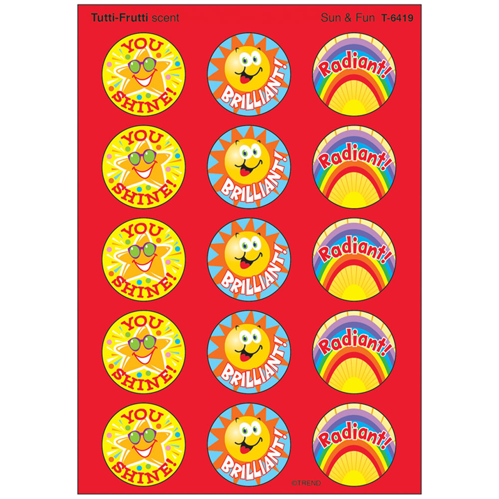 T-6419 - Stinky Stickers Sun & Fun 60/Pk Acid-Free Tutti-Frutti in Stickers