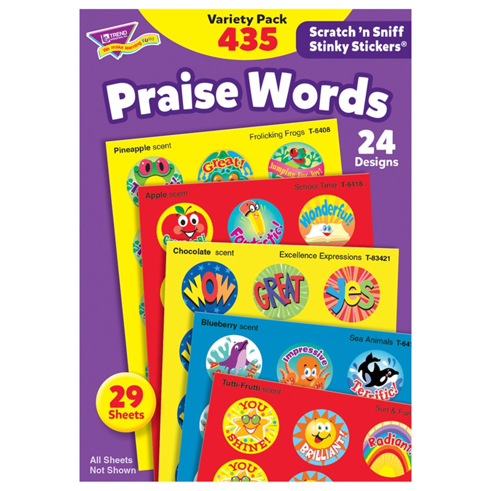 T-6490 - Stinky Stickers Praise Words 435/Pk Jumbo Acid-Free Variety Pk in Motivational