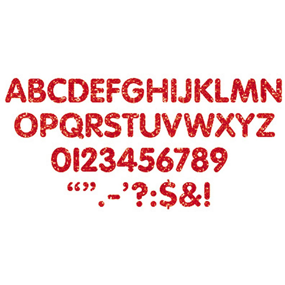 T-78101 - Stick-Eze 1 Letters Numbers Red Sprkl 184 Upprcs 50 Numrls 90 Mrks in Letters