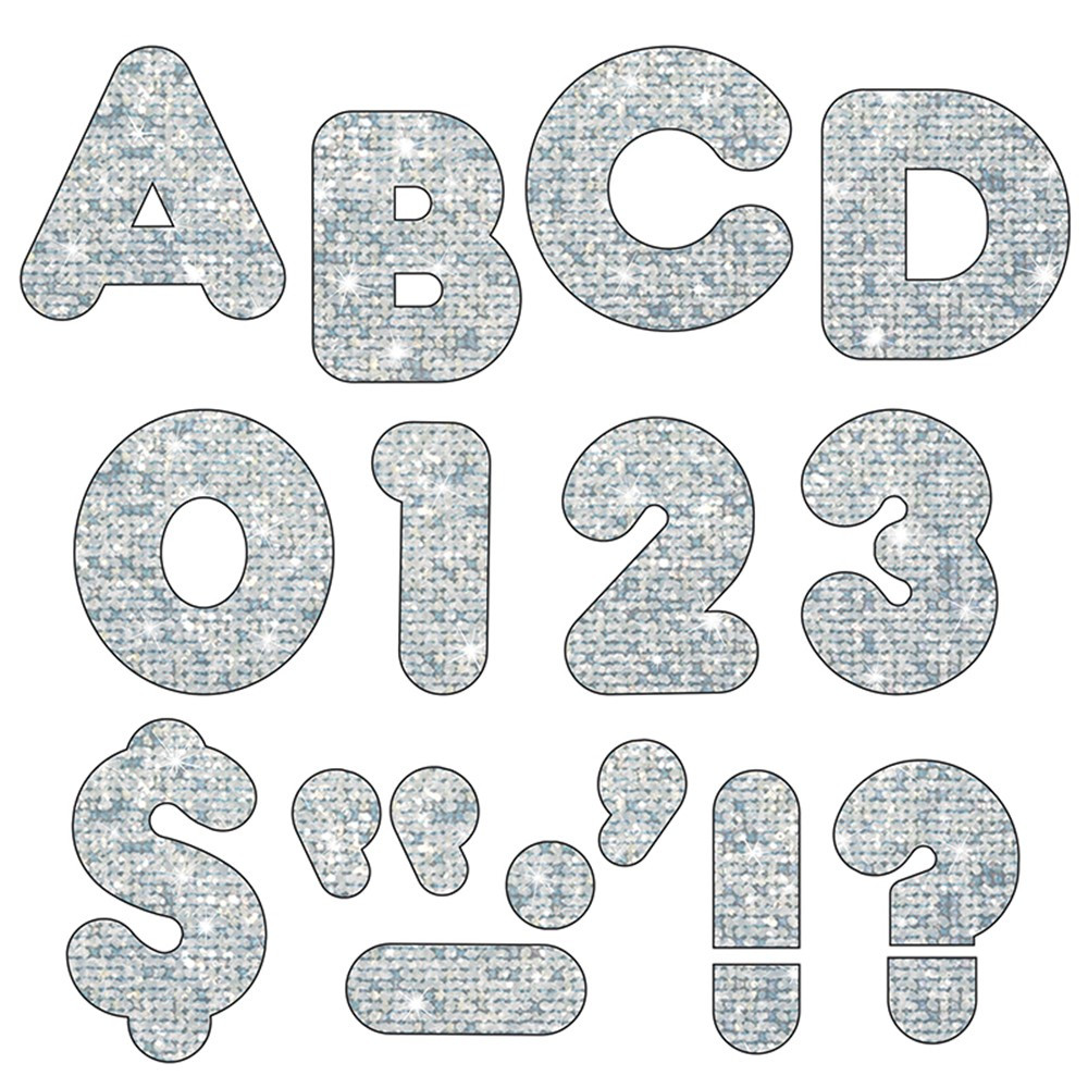 T-79007 - Ready Letters 3 Inch Casual Silver Sparkle in Letters