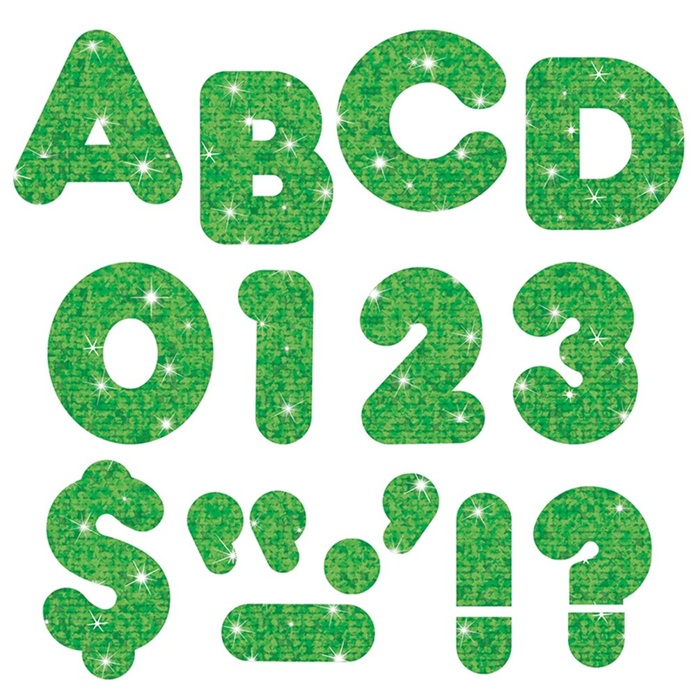T-79011 - Ready Letters 3 Inch Casual Green Sparkle in Letters