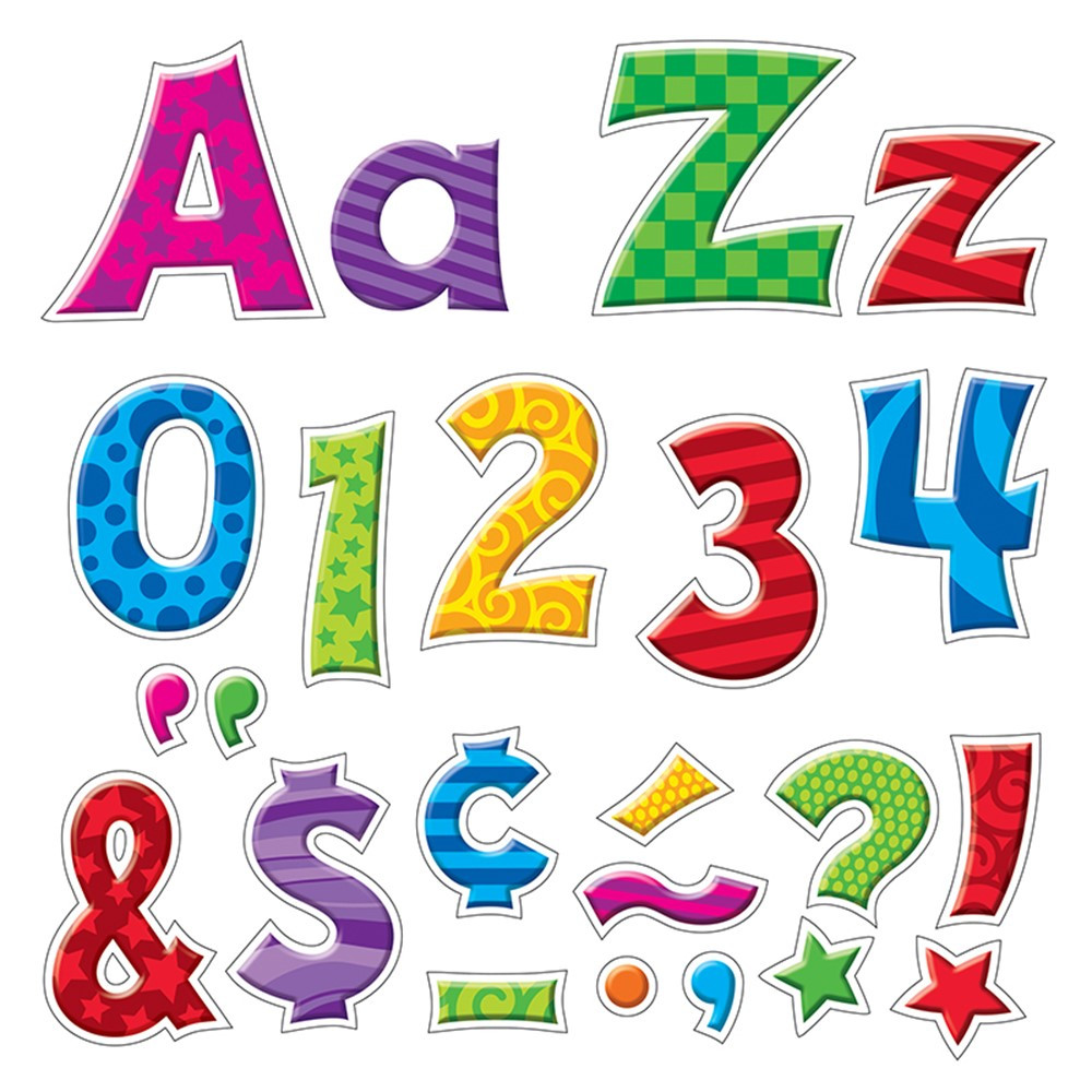 T-79801 - Friendly 4In Furry Friend Patchwork Uppercase/Lowercase Combo Pack in Letters