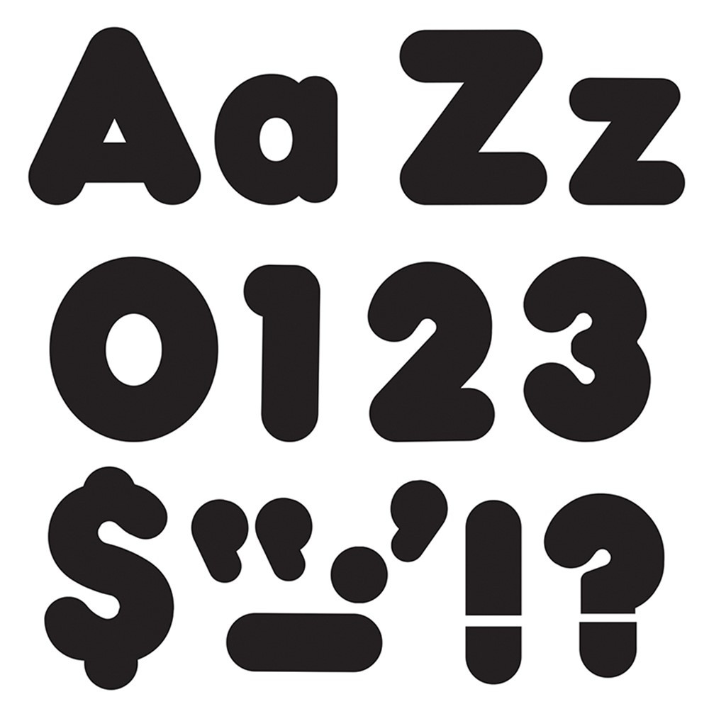 T-79901 - Ready Letter 4 Inch Casual Black Uppercase & Lowercase Combo in Letters